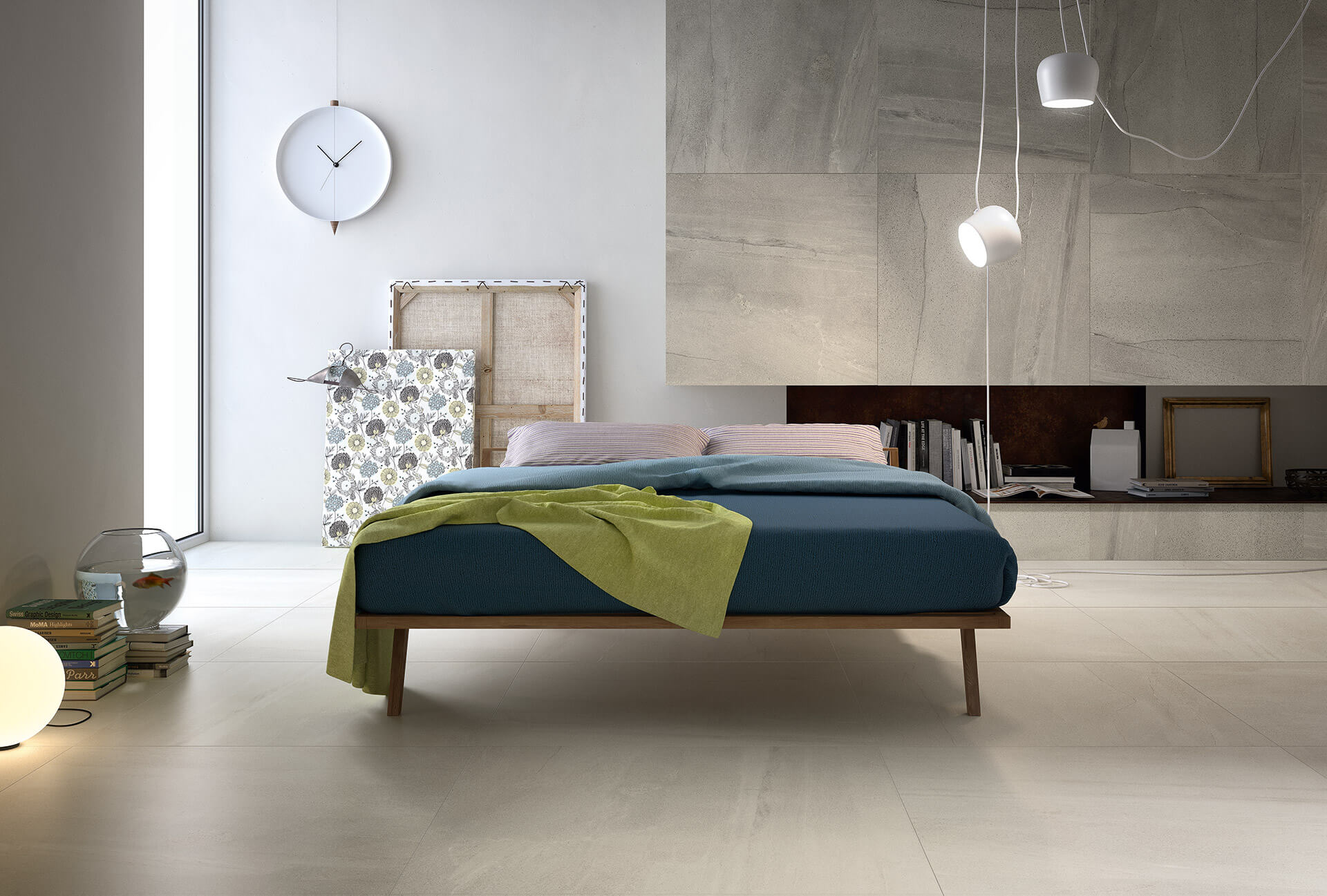 marble-floor-tiles-with-display-bed-granite-feature-wall