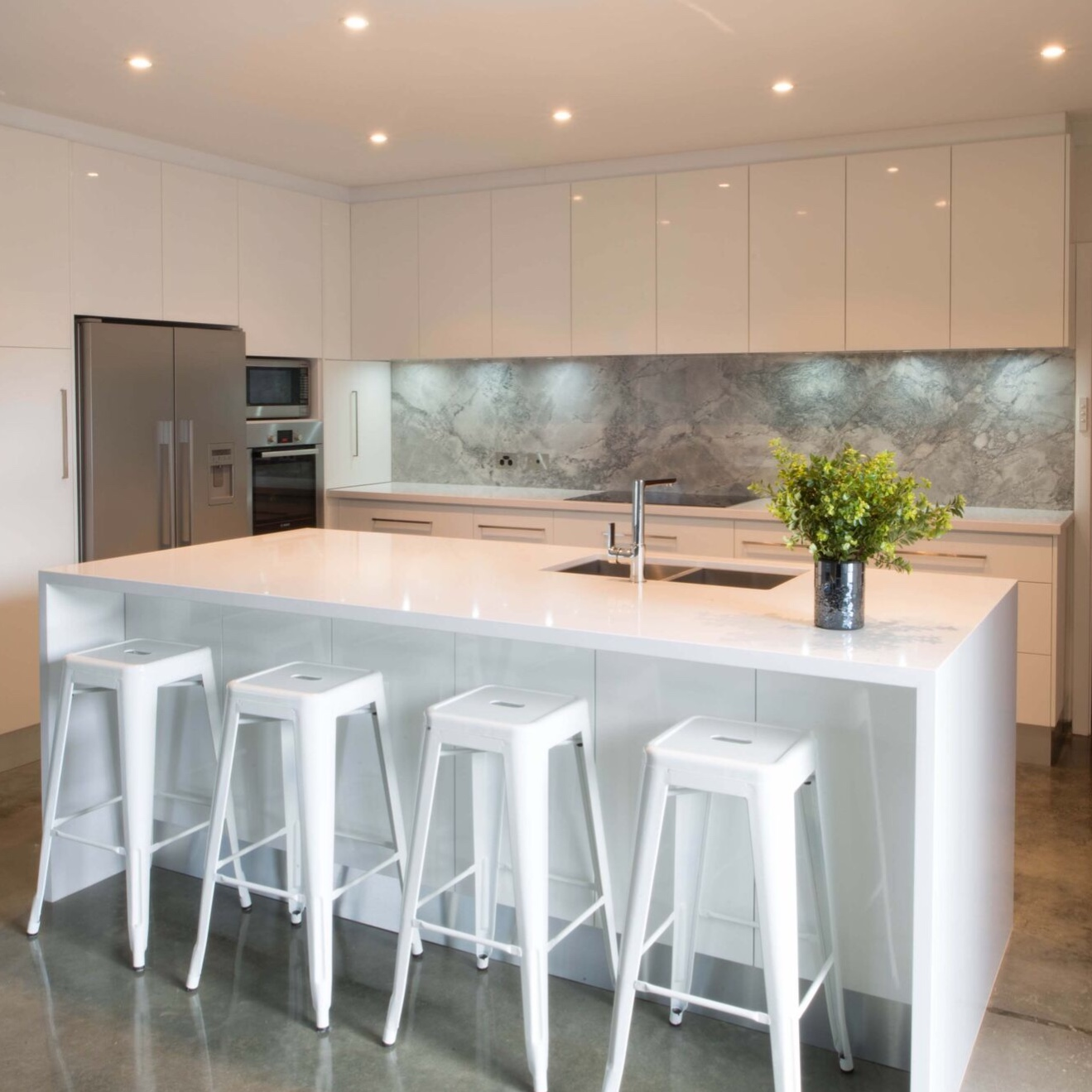 white porcelain benchtop in kitchen