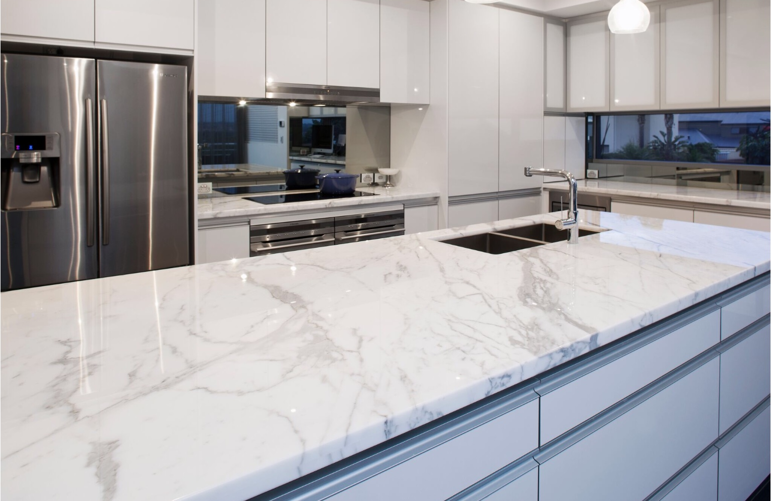 marble stone kitchen benchtop island close up