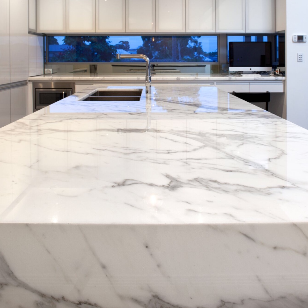 marble porcelain stone countertop close up view
