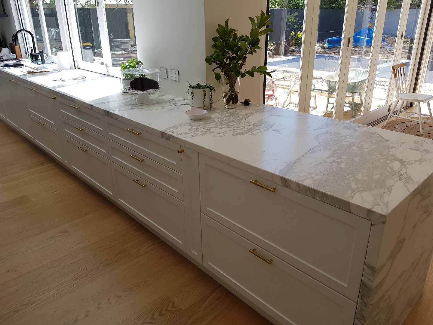 porcelain marble stone kitchen benchtop draws