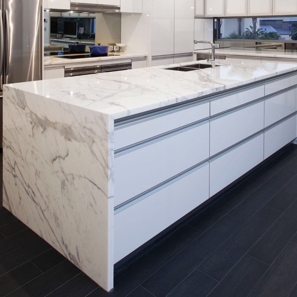 lighted marble benchtop island and sink