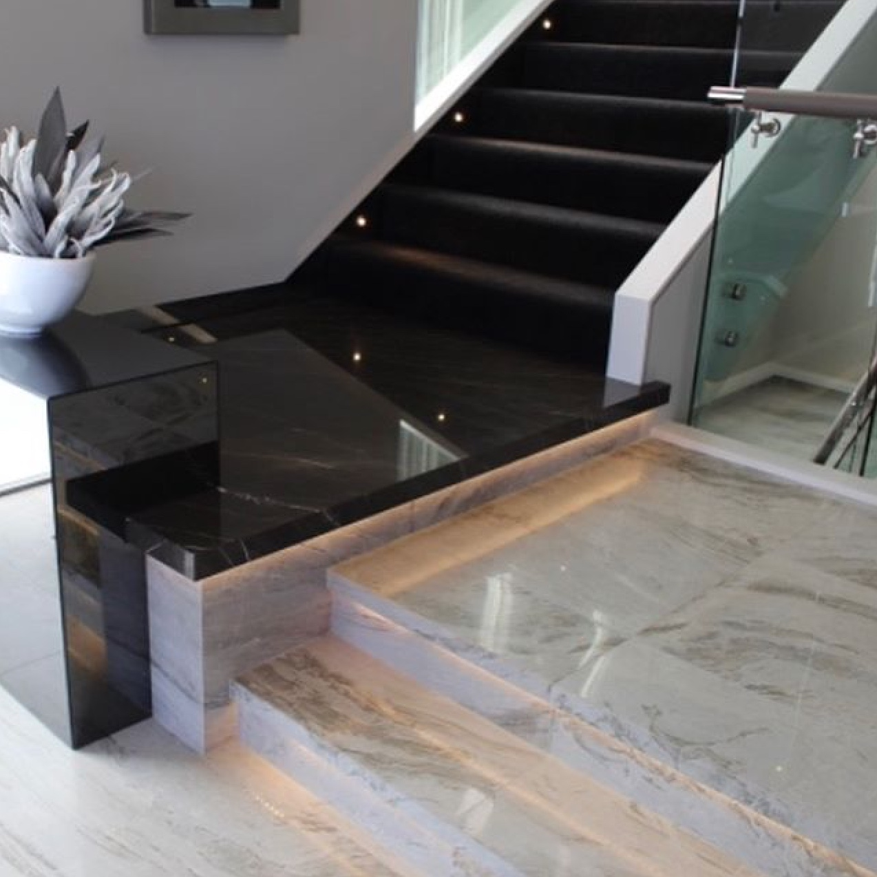 marble stone white and black feature stairs