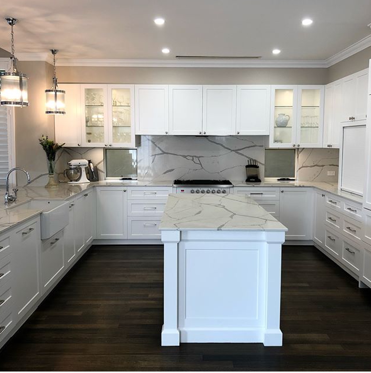 porcelain marble kitchen including island benchtop