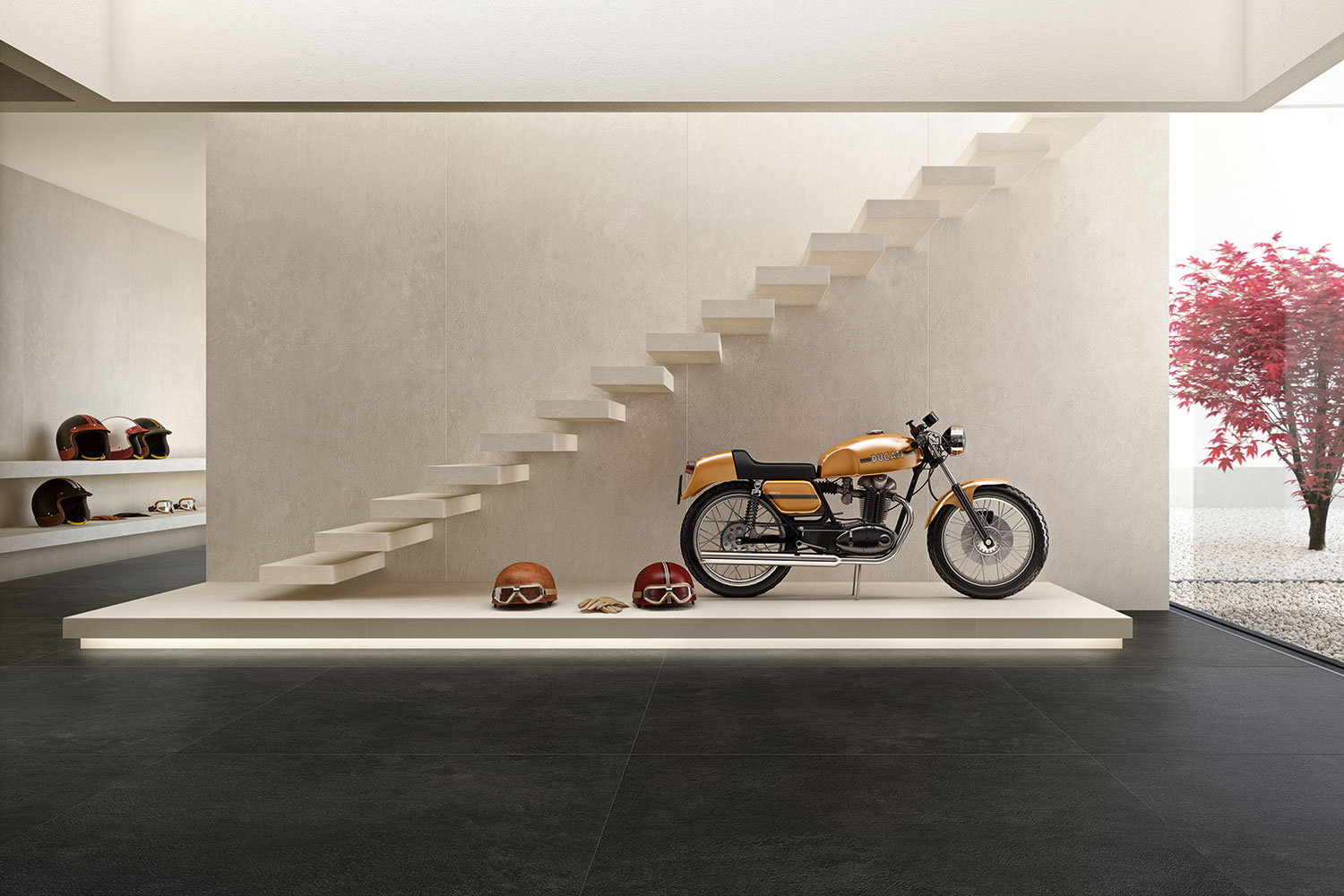 porcelain-wall-tiles-with-ducati-display-bike-and-helmets