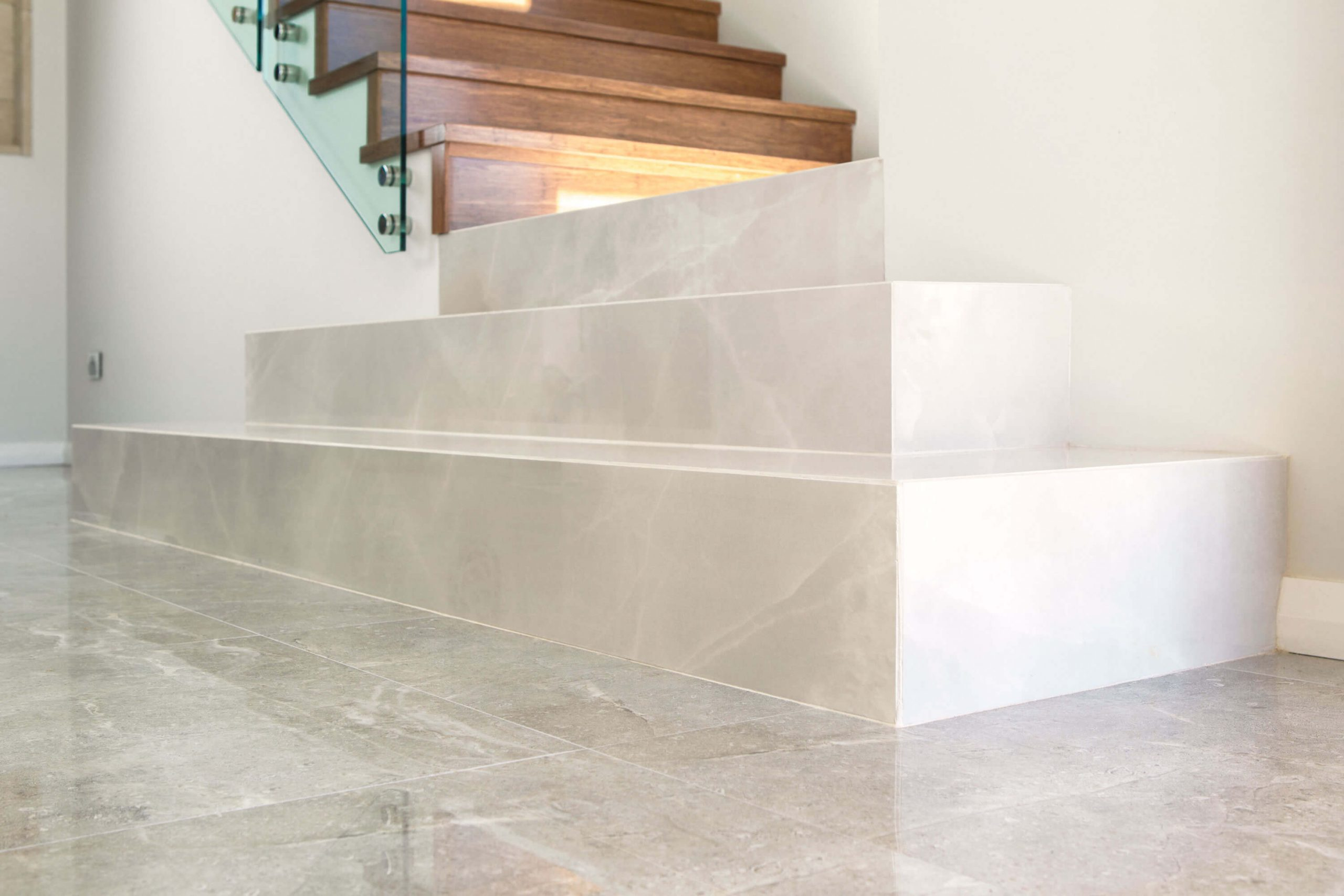 porcelain stone white floor and stairs