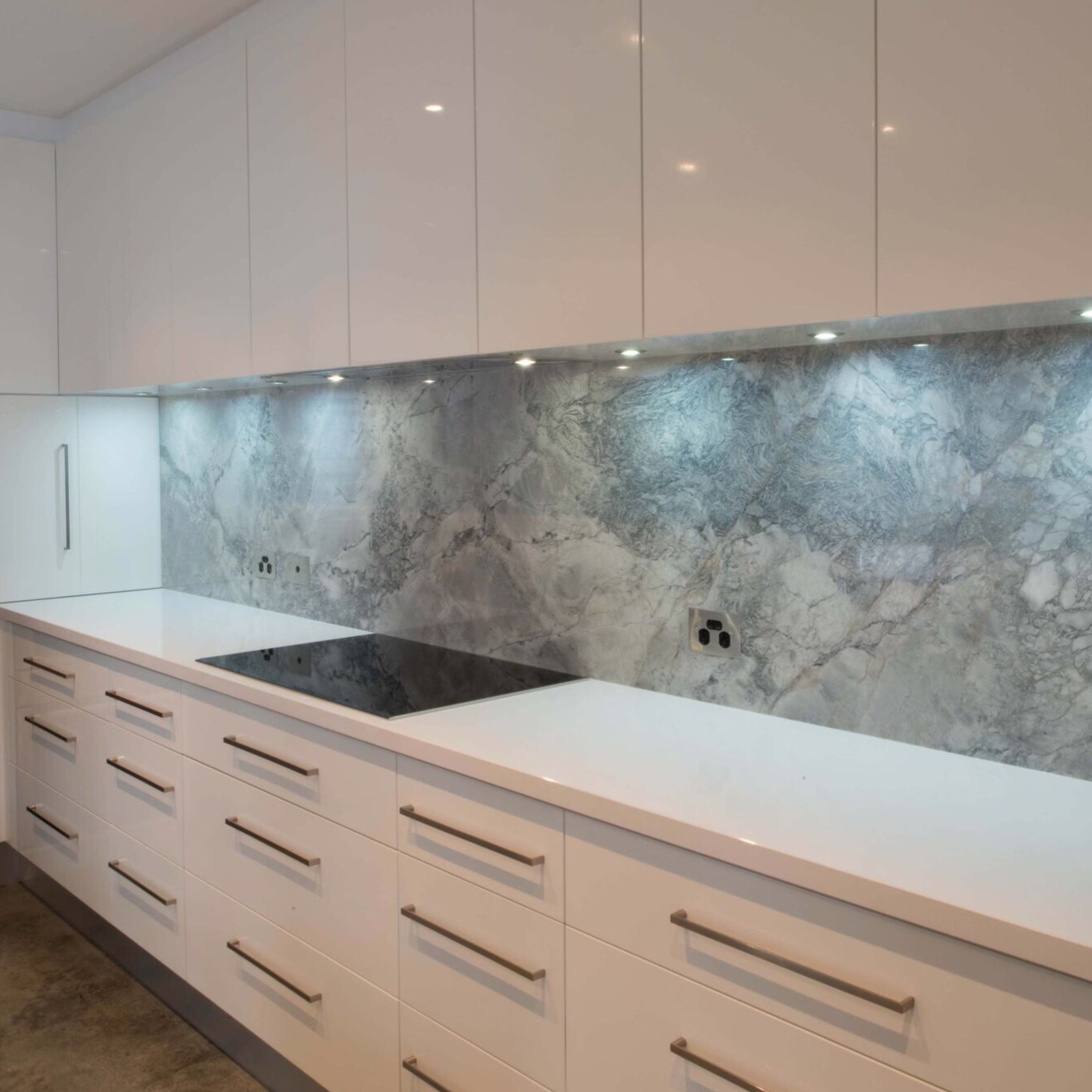 white porcelain bench stone feature splashback